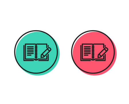Feedback line icon. Book with pencil sign. Copywriting symbol. Positive and negative circle buttons concept. Good or bad symbols. Feedback Vector Illusztráció