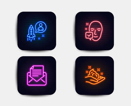 Neon buttons. Set of Mail correspondence, Startup and Face accepted icons. Skin care sign. E-mail newsletter, Developer, Access granted. Hand cream. Neon icons. Glowing light banners. Startup vector