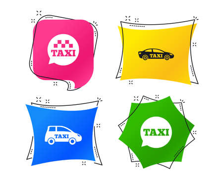 Public transport icons. Taxi speech bubble signs. Car transport symbol. Geometric colorful tags. Banners with flat icons. Trendy design. Vector