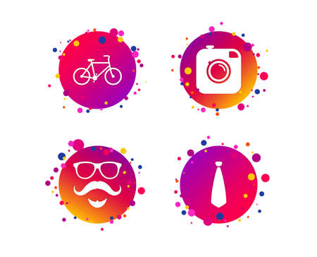 Hipster photo camera. Mustache with beard icon. Glasses and tie symbols. Bicycle sign. Gradient circle buttons with icons. Random dots design. Vector