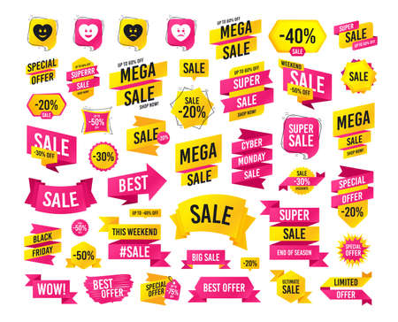 Sales banner. Super mega discounts. Heart smile face icons. Happy, sad, cry signs. Happy smiley chat symbol. Sadness depression and crying signs. Black friday. Cyber monday. Vector