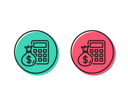 Calculator with money bag line icon. Accounting sign. Calculate finance symbol. Positive and negative circle buttons concept. Good or bad symbols. Finance Calculator Vector