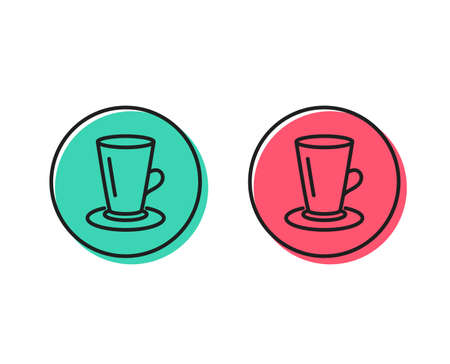 Cup of Tea line icon. Fresh beverage sign. Latte or Coffee symbol. Positive and negative circle buttons concept. Good or bad symbols. Teacup Vector