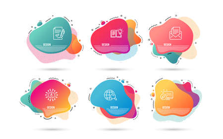 Dynamic liquid shapes. Set of Product knowledge, Internet search and Approved agreement icons. Mail correspondence sign. Education process, Web finder, Signature document. E-mail newsletter. Vector
