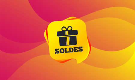 Soldes - Sale in French sign icon. Gift box with ribbons symbol. Wave background. Abstract shopping banner. Template for design. Vector