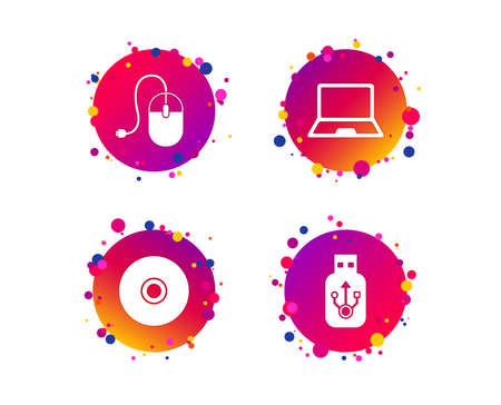 Notebook pc and Usb flash drive stick icons. Computer mouse and CD or DVD sign symbols. Gradient circle buttons with icons. Random dots design. Vector Archivio Fotografico - 111104177