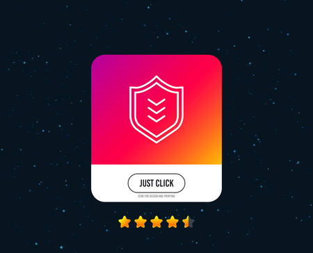 Shield line icon. Protection symbol. Business security sign. Web or internet line icon design. Rating stars. Just click button. Vector