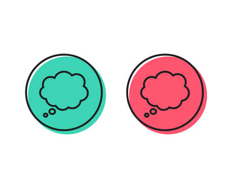 Comic Speech bubble line icon. Chat sign. Communication or Comment symbol. Positive and negative circle buttons concept. Good or bad symbols. Comic message Vector