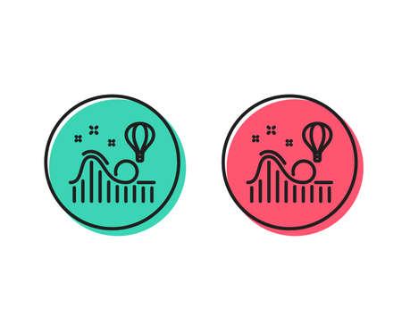 Roller coaster line icon. Amusement park sign. Carousels symbol. Positive and negative circle buttons concept. Good or bad symbols. Roller coaster Vector Standard-Bild - 110400326
