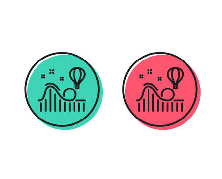 Roller coaster line icon. Amusement park sign. Carousels symbol. Positive and negative circle buttons concept. Good or bad symbols. Roller coaster Vector Illustration