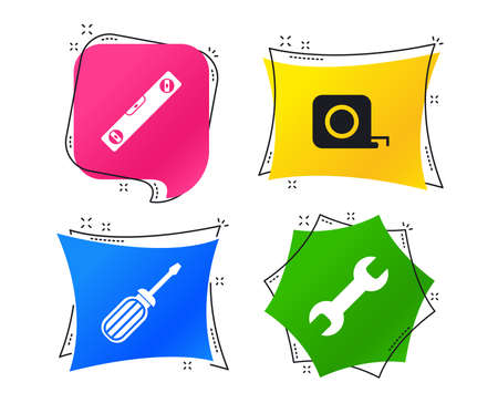 Screwdriver and wrench key tool icons. Bubble level and tape measure roulette sign symbols. Geometric colorful tags. Banners with flat icons. Trendy design. Vector