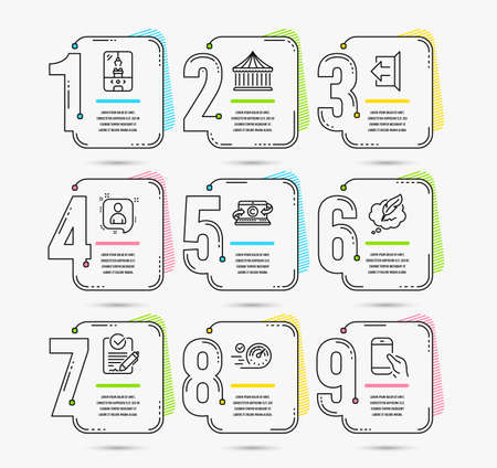 Infographic template with numbers 9 options. Set of Copywriting notebook, Copyright chat and Rfp icons. Crane claw machine, Carousels and Sign out signs. Vector