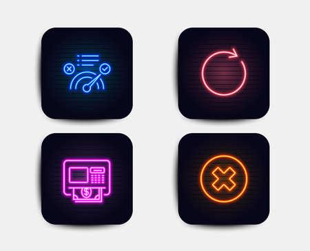 Lumières au néon. Ensemble d'icônes de réponse automatique, de synchronisation et de réponse correcte. Fermer le signe du bouton. Retrait d'argent, Actualisation ou mise à jour, Approuvé. Supprimer ou refuser. Icônes au néon. Bannières lumineuses rougeoyantes. Vecteur
