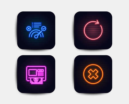 Neon glow lights. Set of Atm, Synchronize and Correct answer icons. Close button sign. Money withdraw, Refresh or update, Approved. Delete or decline.  Neon icons. Glowing light banners. Vector