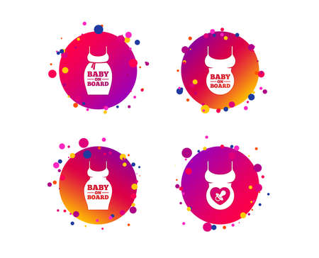 Baby on board icons. Infant caution signs. Child pacifier nipple. Pregnant woman dress with big belly. Gradient circle buttons with icons. Random dots design. Vector Çizim