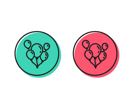 Balloons line icon. Amusement park or birthday party sign. Positive and negative circle buttons concept. Good or bad symbols. Balloons Vector Standard-Bild - 111104223