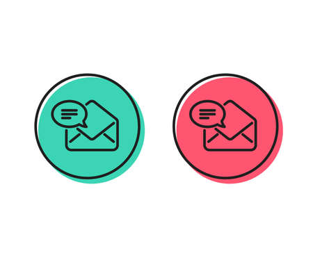 New Mail line icon. Message correspondence sign. E-mail symbol. Positive and negative circle buttons concept. Good or bad symbols. New Mail Vector