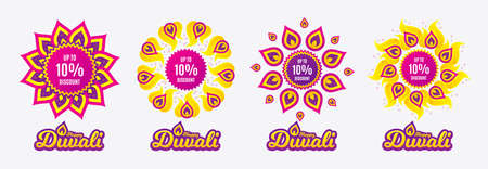 Diwali sales banners. Up to 10% Discount. Sale offer price sign. Special offer symbol. Save 10 percentages. Diwali hindu festival of lights. Shopping tags. Vector Illustration