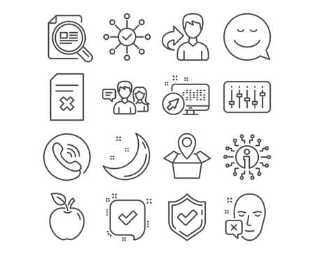 Set of Dj controller, Delete file and Check article icons. Survey check, Confirmed and Package location signs. Face declined, People talking and Smile symbols. Vector