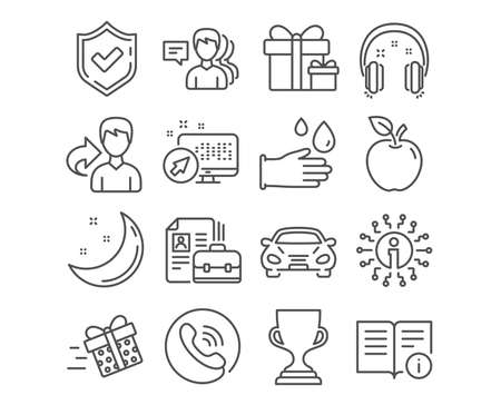 Set of Technical info, Vacancy and Headphones icons. Award cup, Present delivery and People signs. Rubber gloves, Car and Surprise package symbols. Documentation, Hiring job, Earphones. Vector Illustration