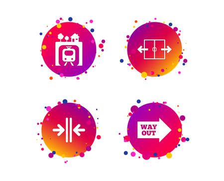 Underground metro train icon. Automatic door symbol. Way out arrow sign. Gradient circle buttons with icons. Random dots design. Vector