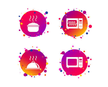 Microwave grill oven icons. Cooking pan signs. Food platter serving symbol. Gradient circle buttons with icons. Random dots design. Vector Banque d'images - 111104243