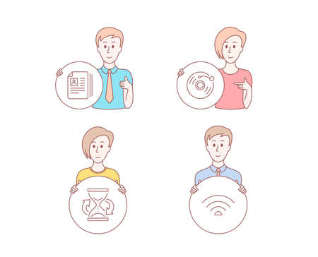 People hand drawn style. Set of Vinyl record, Cv documents and Hourglass icons. Wifi sign. Retro music, Portfolio files, Sand watch. Wi-fi internet. Character hold circle button. Man with like hand