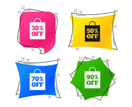 Sale bag tag icons. Discount special offer symbols. 30%, 50%, 70% and 90% percent off signs. Geometric colorful tags. Banners with flat icons. Trendy design. Vector