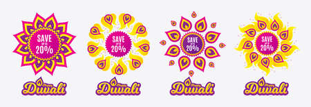 Diwali sales banners. Save up to 20%. Discount Sale offer price sign. Special offer symbol. Diwali hindu festival of lights. Shopping tags. Vector