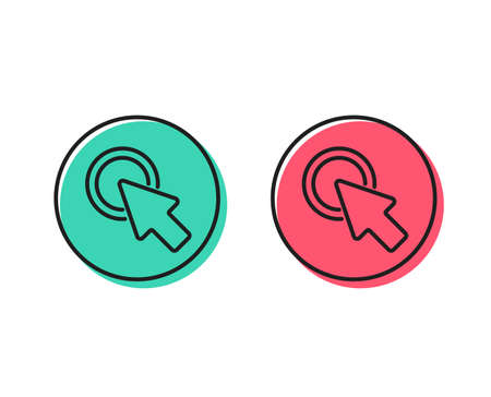 Click here line icon. Push the button sign. Web cursor symbol. Positive and negative circle buttons concept. Good or bad symbols. Click here Vector
