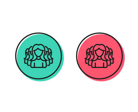 Group of Women line icon. Human communication symbol. Teamwork sign. Positive and negative circle buttons concept. Good or bad symbols. Women Group Vector Foto de archivo - 111104262