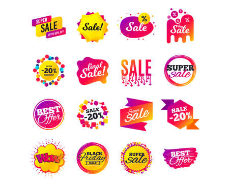Sale banner templates design. Special offer tags. Cyber monday sale discounts. Black friday shopping icons. Best ultimate offer. Super shopping discount icons. Vector Imagens - 111104267