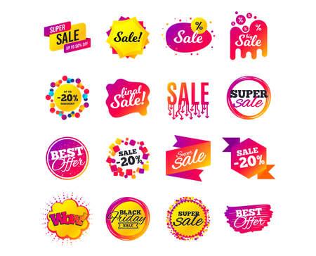 Verkoop banner sjablonen ontwerp. Labels voor speciale aanbiedingen. Cyber maandag verkoop kortingen. Zwarte vrijdag winkelen pictogrammen. Beste ultieme aanbieding. Super winkelen korting pictogrammen. Vector