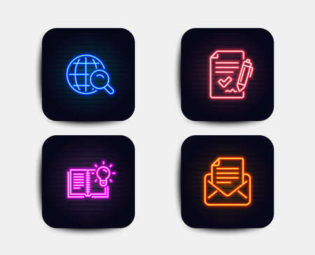 Luci al neon. Set di icone di conoscenza del prodotto, ricerca su Internet e accordo approvato. Segno di corrispondenza della posta. Processo educativo, ricerca Web, documento di firma. E-mail newsletter. Icone al neon