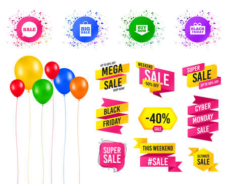 Balloons party. Sales banners. Sale speech bubble icons. Buy now arrow symbols. Black friday gift box signs. Big sale shopping bag. Birthday event. Trendy design. Vector