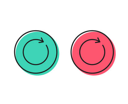 Refresh line icon. Rotation arrow sign. Reset or Reload symbol. Positive and negative circle buttons concept. Good or bad symbols. Synchronize Vector Illustration