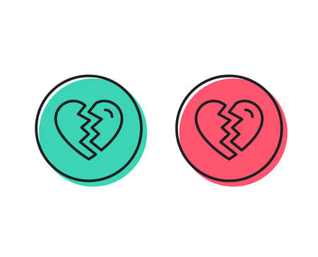 Break up Love line icon. Divorce sign. Valentines day symbol. Positive and negative circle buttons concept. Good or bad symbols. Break up Vector