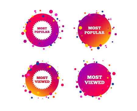 Most popular star icon. Most viewed symbols. Clients or customers choice signs. Gradient circle buttons with icons. Random dots design. Vector