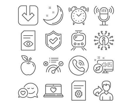 Set of Web love, Dating and File settings icons. Train, Correct answer and Load document signs. Microphone, Alarm clock and View document symbols. Social network, Love messenger, File management Banque d'images - 111104283