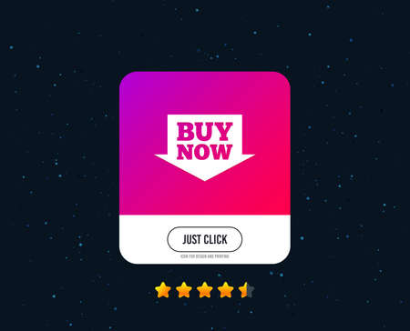 Buy now sign icon. Online buying arrow button. Web or internet icon design. Rating stars. Just click button. Vector Foto de archivo - 111104293