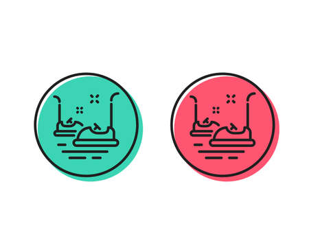 Bumper cars line icon. Amusement park sign. Positive and negative circle buttons concept. Good or bad symbols. Bumper cars Vector 向量圖像