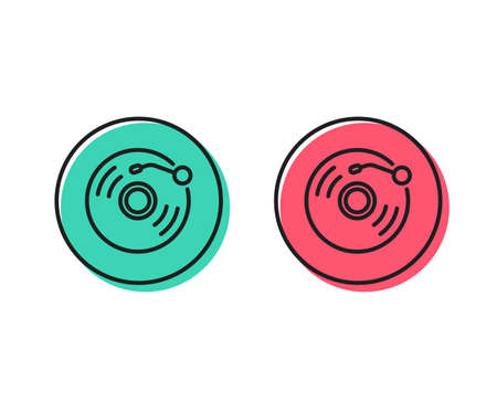Vinyl record line icon. Music sound sign. Musical device symbol. Positive and negative circle buttons concept. Good or bad symbols. Vinyl record Vector 일러스트