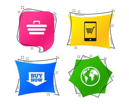 Online shopping icons. Smartphone, shopping cart, buy now arrow and internet signs. WWW globe symbol. Geometric colorful tags. Banners with flat icons. Trendy design. Vector Stock Vector - 111104307