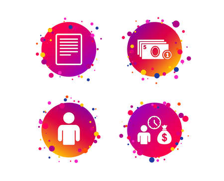Bank loans icons. Cash money bag symbol. Apply for credit sign. Fill document and get cash money. Gradient circle buttons with icons. Random dots design. Vector