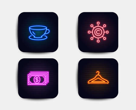 Neon glow lights. Set of Espresso, Payment and Copywriting network icons. Cloakroom sign. Coffee cup, Finance, Content networking. Hanger wardrobe.  Neon icons. Glowing light banners. Vector