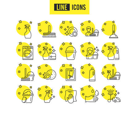Cleaning line icons. Laundry, Sponge and Vacuum cleaner signs. Washing machine, Housekeeping service and Maid equipment symbols. Window cleaning and Wipe off. Quality futuro design icons. Vector  イラスト・ベクター素材