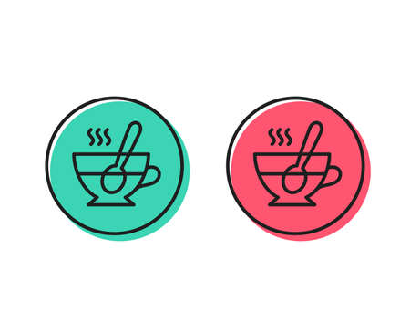 Cup with spoon line icon. Fresh beverage sign. Latte or Coffee symbol. Positive and negative circle buttons concept. Good or bad symbols. Tea cup Vector