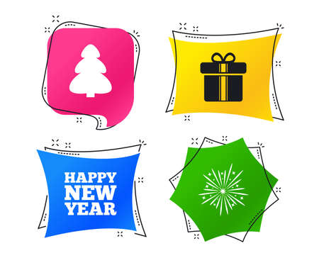 Happy new year icon. Christmas tree and gift box signs. Fireworks explosive symbol. Geometric colorful tags. Banners with flat icons. Trendy design. Vector