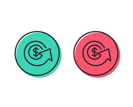Dollar exchange line icon. Money refund sign. Cashback symbol. Positive and negative circle buttons concept. Good or bad symbols. Dollar exchange Vector Stock Vector - 111104323