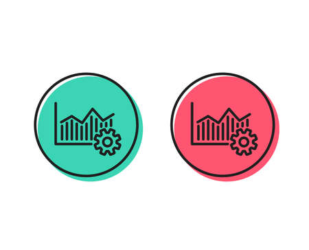 Operational excellence line icon. Cogwheel sign. Positive and negative circle buttons concept. Good or bad symbols. Operational excellence Vector
